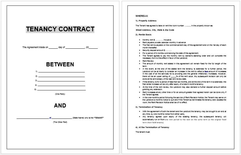 Free Tenancy Contract | Microsoft Word Templates