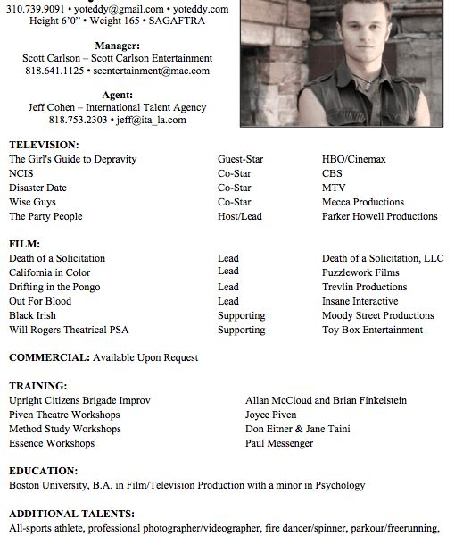 Classy Idea Resume For Actors 9 Acting Resume Sample No Experience ...
