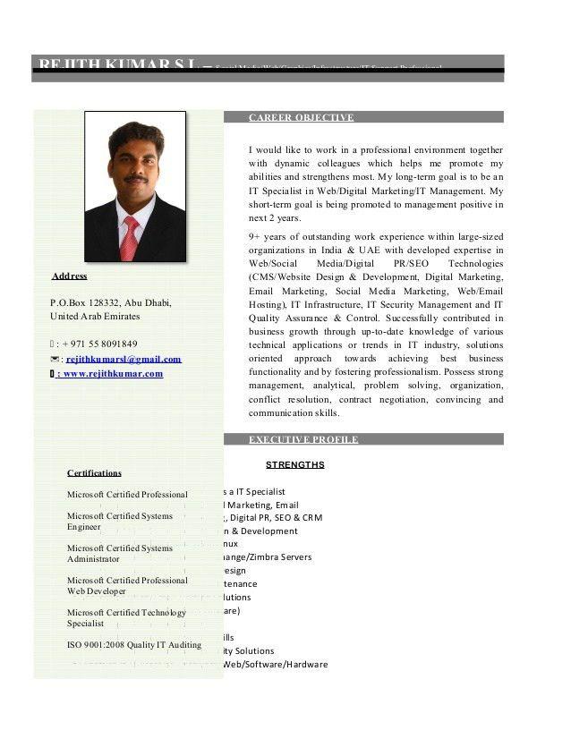 Resume - Social Media Specialist - Dubai-Abu Dhabi-Middle East- India