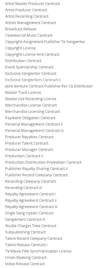 Music Contracts Blank and Ready to USE for $5 - ListingDock