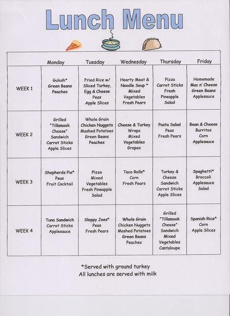 preschool snack menu ideas | preschool snack menu template ...