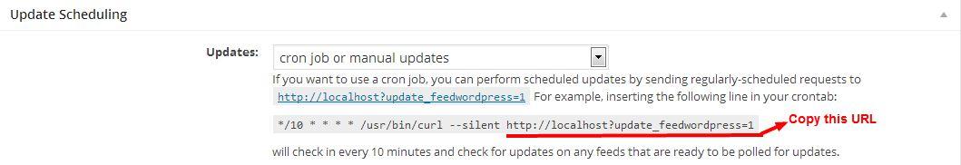How to set up cron job for FeedWordPress