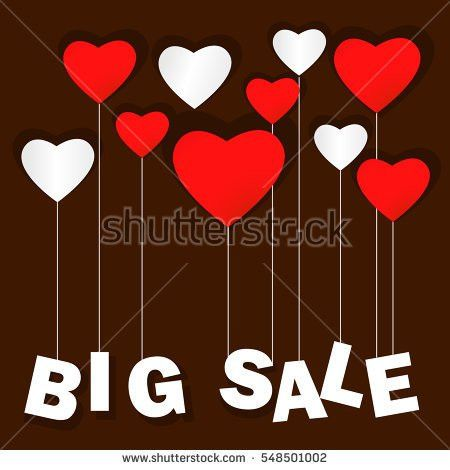 Valentines Day Heart Sale Tag Poster Stock Vector 553990342 ...