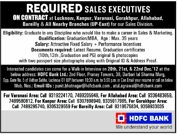 HDFC Recruitment 2013 for Sales Executives in UP | Bank Jobs 2013