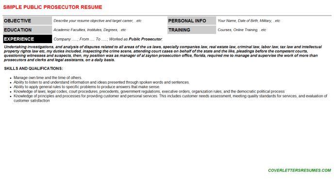 Public Prosecutor Cover Letter & Resume