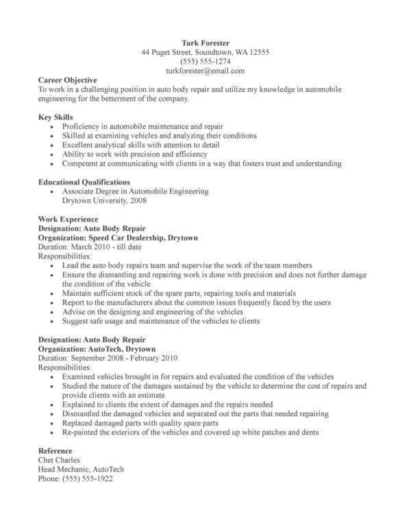 Auto Body Repair or Automotive Mechanic Resume Template Sample ...