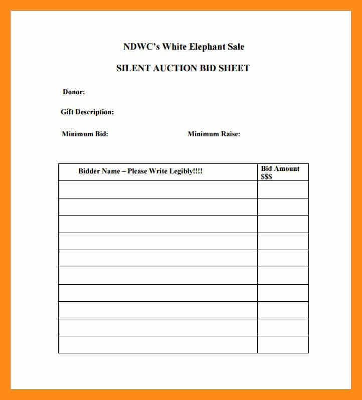 Silent Auction Bid Sheet. 2 Aenc Final Auction Silent Auction Bid ...