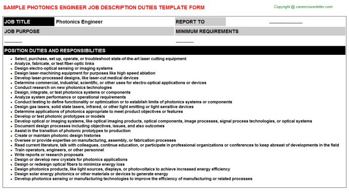 Photonics Engineer Job Title Docs