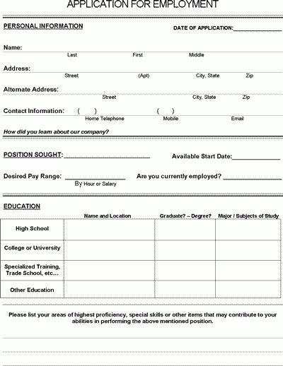 Job Application Form - Free PDF Employment Download | Life skills ...