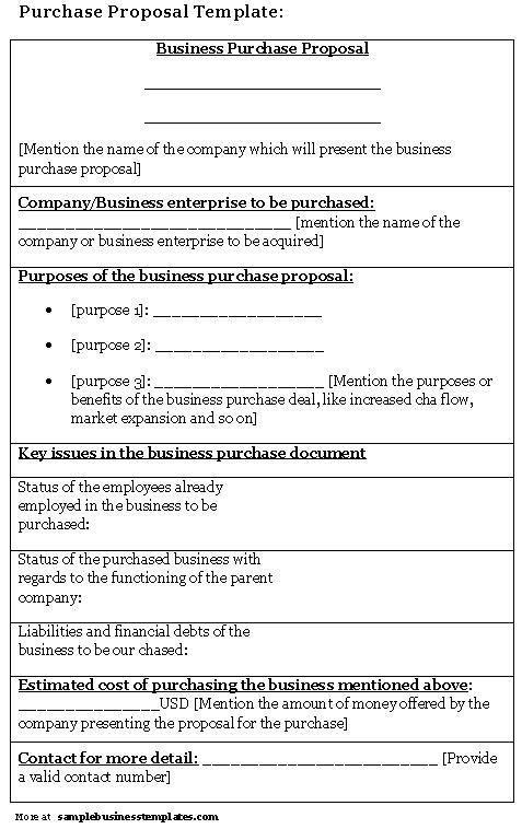 Purchase Proposal Sample. Bid Proposal Template In Word Sample Bid ...