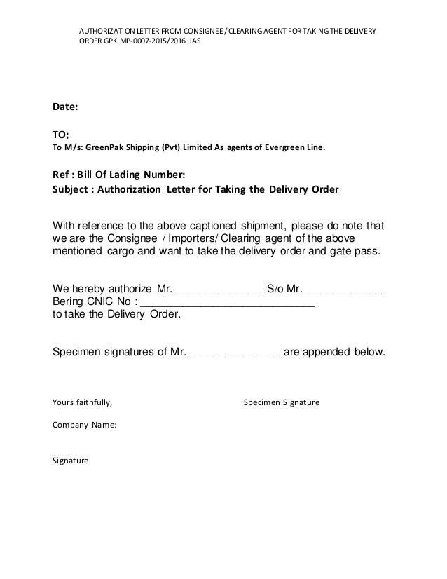 7...AUTHORIZATION LETTER FROM CONSIGNEE CLEARING AGENT FOR TAKING TH…