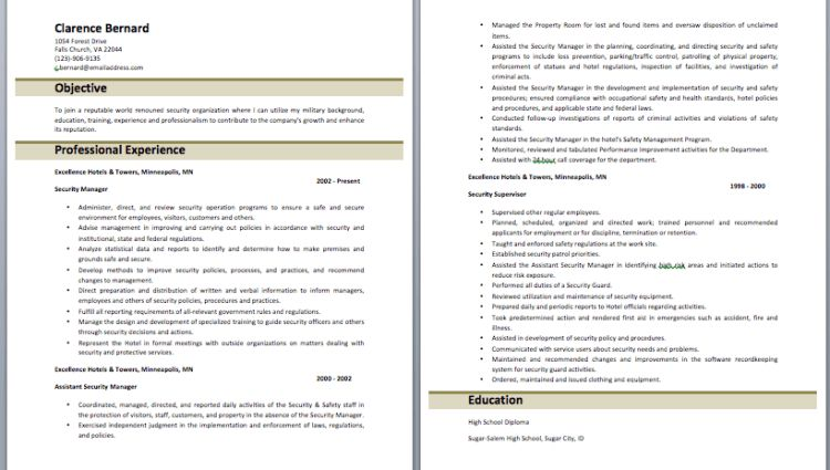 security officer resume objective Hotel Security Officer Resume ...