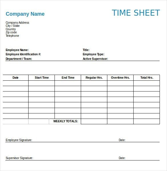 Numbers Timesheet Templates – 12+ Free Sample, Example Format ...