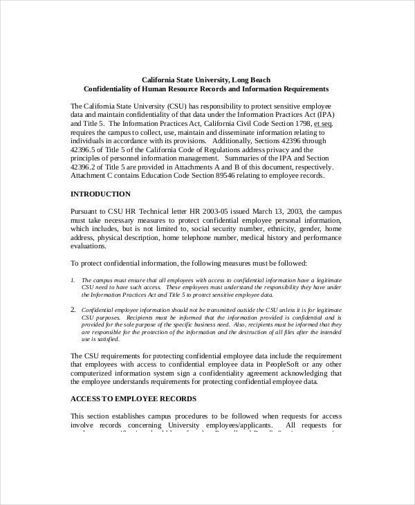 9+ Human Resources Confidentiality Agreement Templates – Free ...
