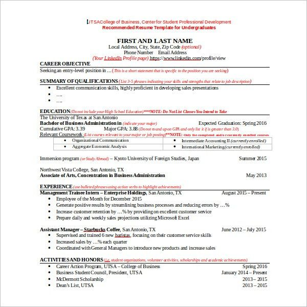 Sample Resume Template For Students In University   9+ Free .  Utsa Resume Template