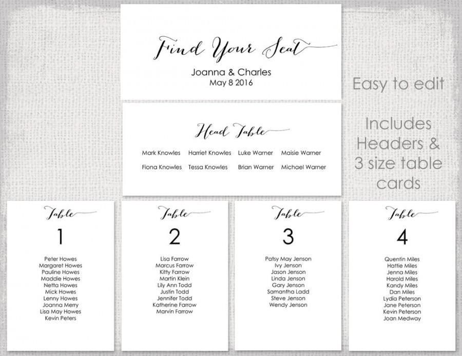 "Wedding Seating Chart Template Black ""Bombshell"" DIY Printable ..."