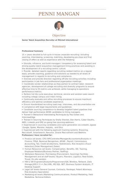 Recruiting Consultant CV Örneği - VisualCV Özgeçmiş Örnekleri ...
