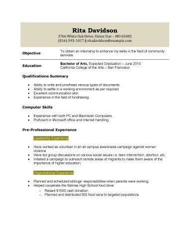 Marvellous Sample Resume For Recent College Graduate With No ...