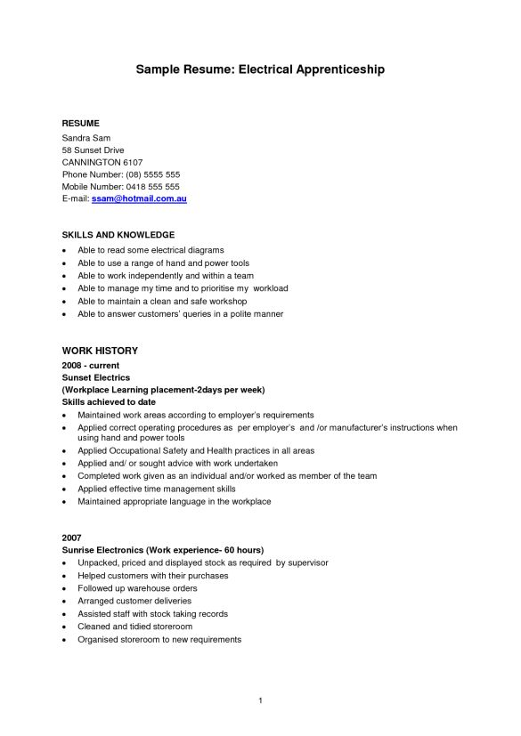 Experienced Apprentice Electrician Sample Resume : Vntask.com