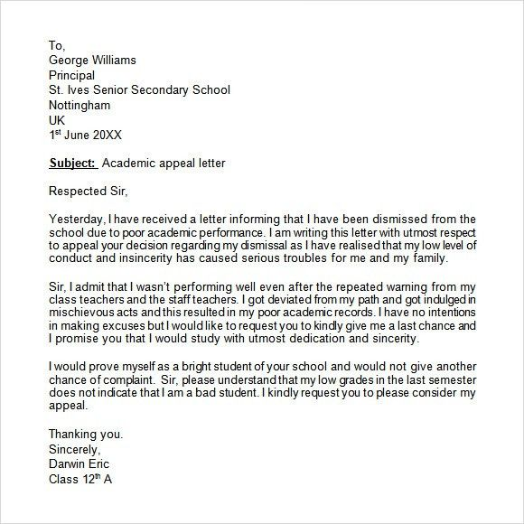 example appeal letter