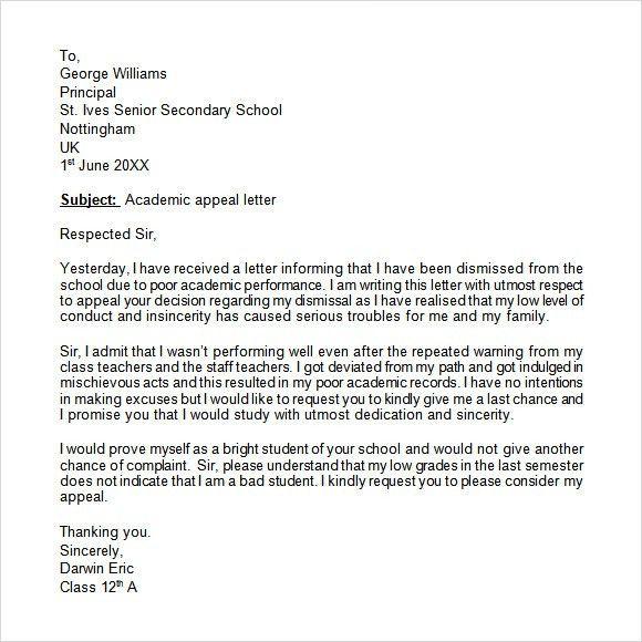 sample appeal letter for college dismissal