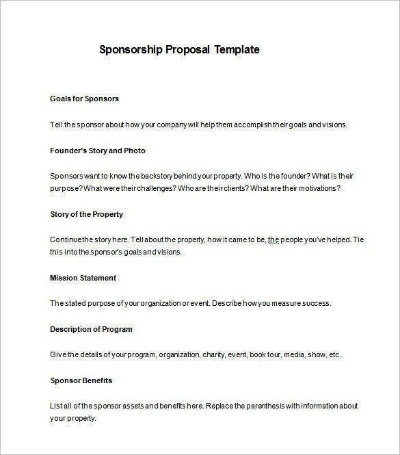 Sponsorship Proposal Template – 11+ Free Word, Excel, PDF Format ...