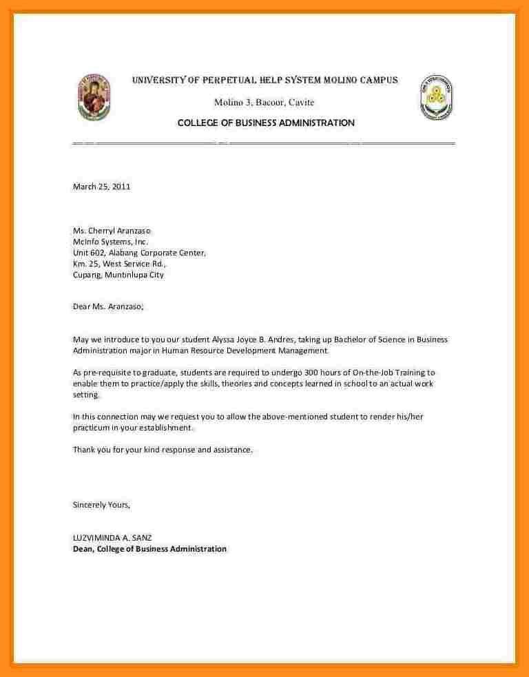 5+ endorsement letter for ojt | fillin resume