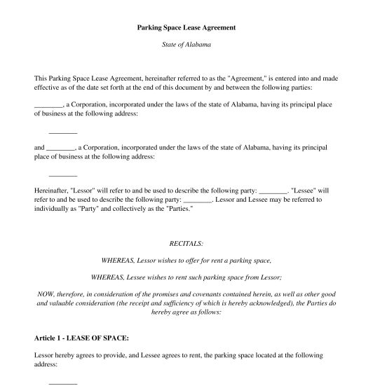 Parking Space Lease Agreement - Template - Word and PDF