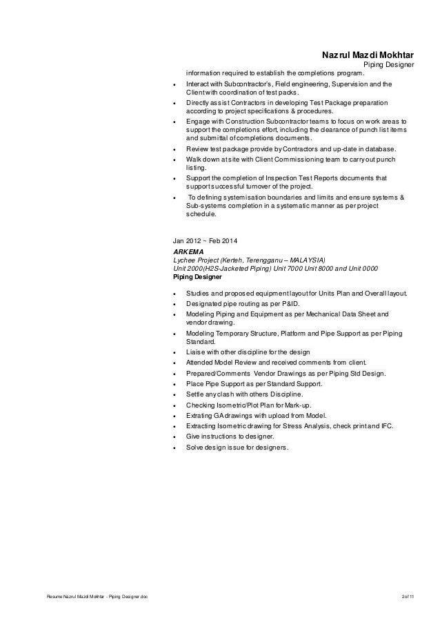 Resume Nazrul Mazdi Mokhtar - Piping Designer