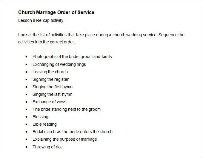 28+ Order Of Service Wedding Template Free | Wedding Program ...