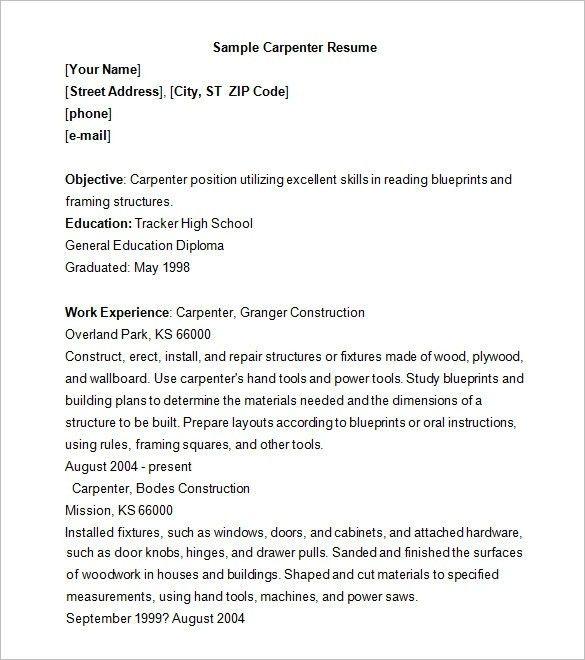 Carpenter Resume | The Best Resume