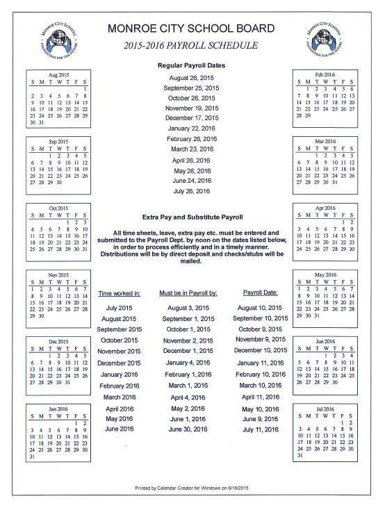 2015-2016 Payroll Schedule - Monroe City Schools