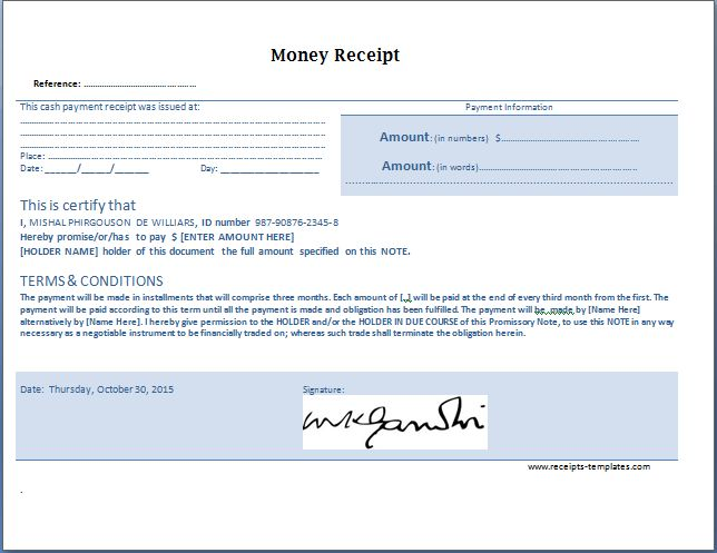 Money Receipt Templates for MS Word & Excel | Receipt Templates
