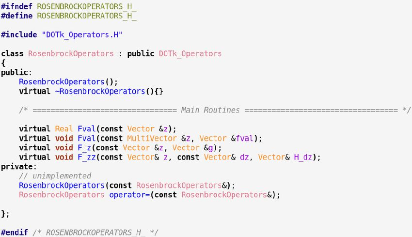 4. C++ operators API class definition example: Unconstrained ...