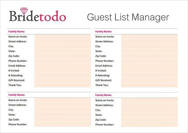 wedding guest list manager - Template