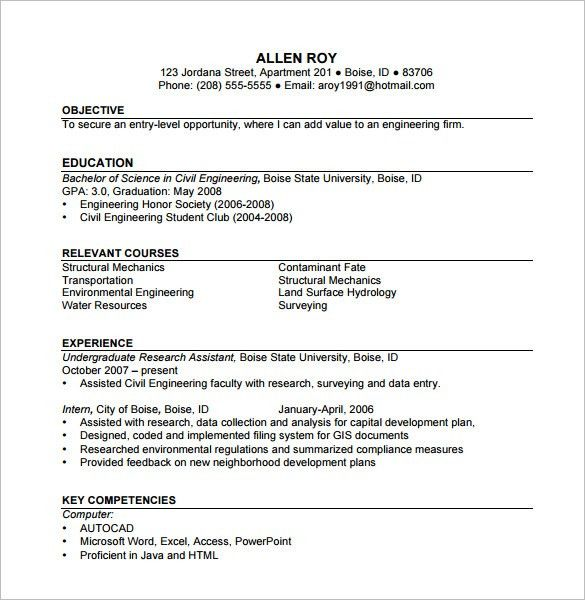 Construction Resume Template 9 Free Word Excel Pdf Format Example ...