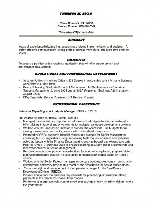 Splendid Design Ideas Finance Resume Objective 4 Sample - CV ...