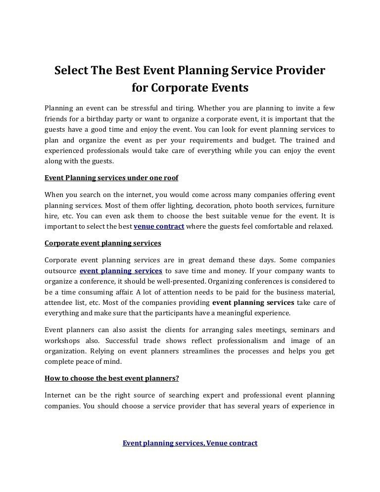 event planning and venue contract negotiations what do all these ...