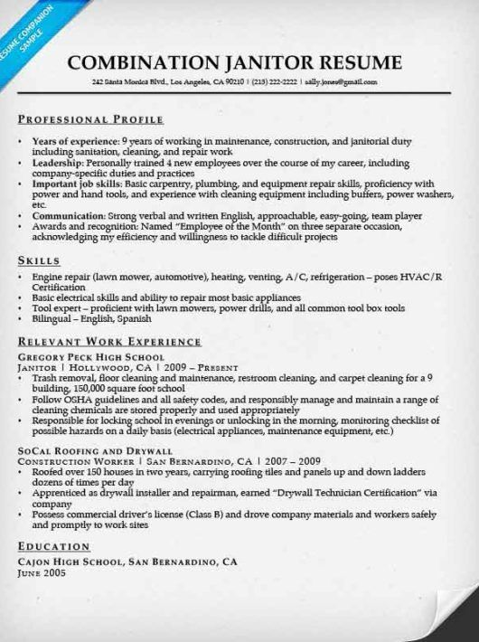 Janitor Resume Sample | Resume Companion