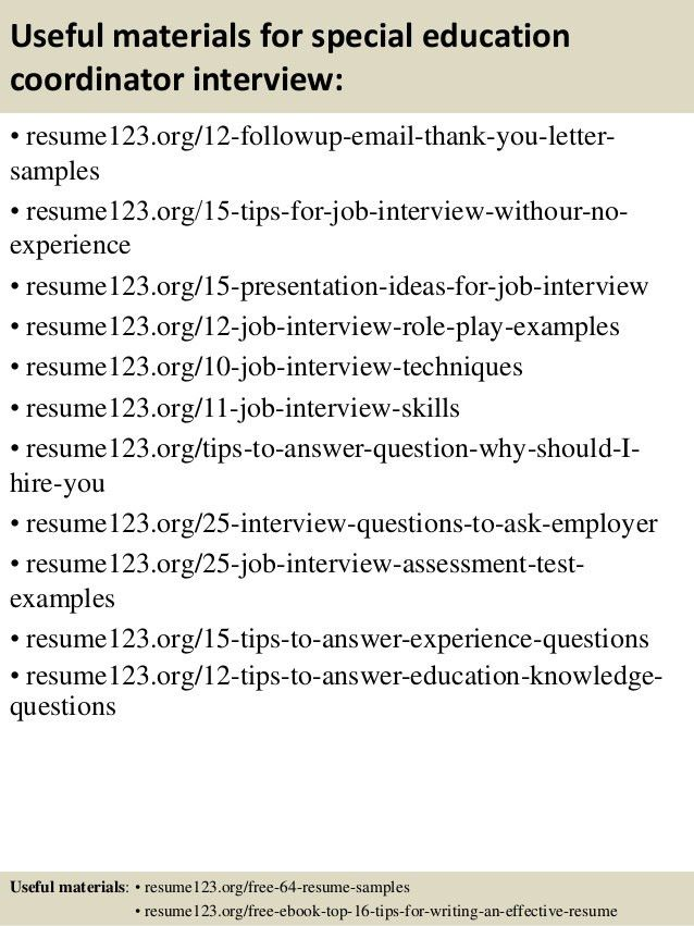 Top 8 special education coordinator resume samples