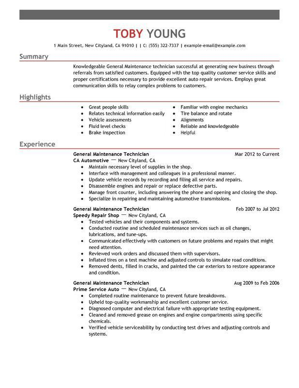 Unforgettable General Maintenance Technician Resume Examples to ...