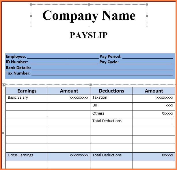 9+ sample of payslip format | Salary Bill Format