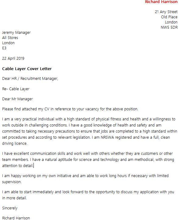 Cable Layer Cover Letter Example - icover.org.uk