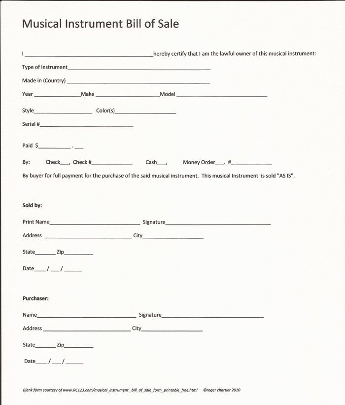 Musical Instrument Bill Of Sale Form - Printable - Free- RC123.com