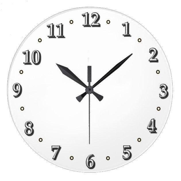 White Numbers Clock Face Template   Zazzle.com