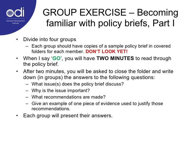 Policy briefs as a tool for communicating development research