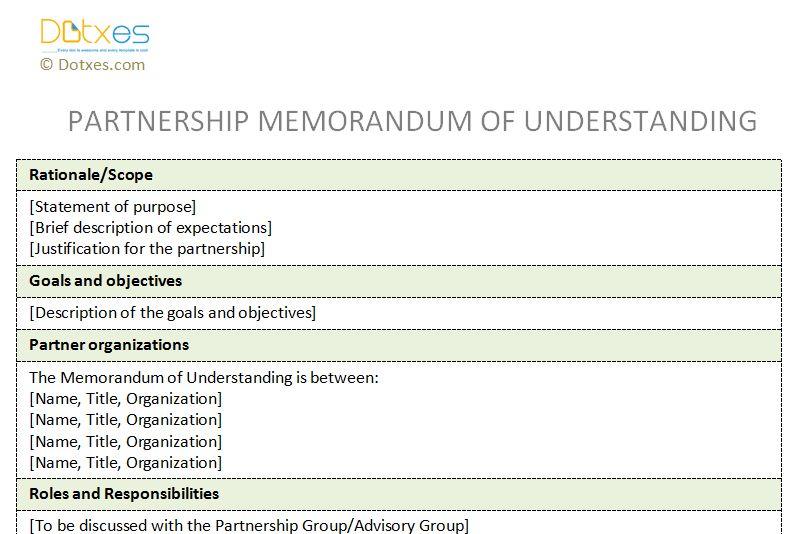 memorandum of understanding example