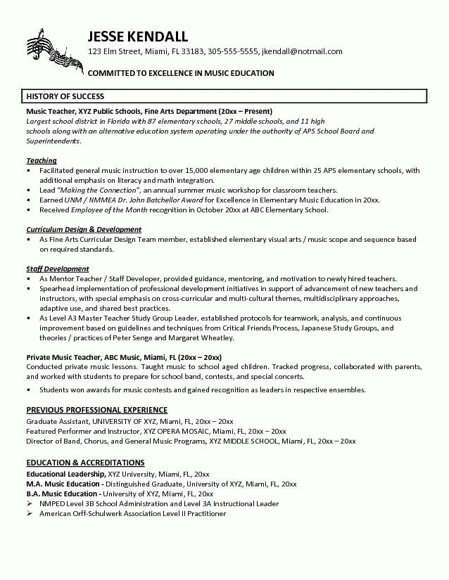 Music Teacher Resume Example | Teaching Orchestra | Pinterest ...