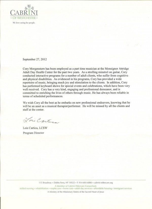 Cory Morgenstern | Cory Morgenstern | Reference Letters