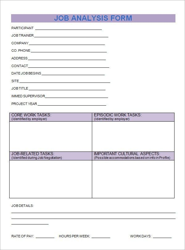 Job Analysis Template - 6+ Download Free Documents in PDF, Word